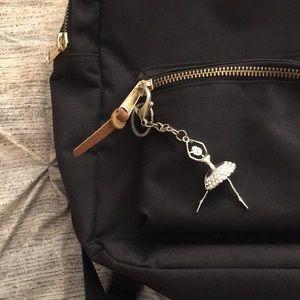 NWOT Luxe Diamond Ballerina Silver Keychain